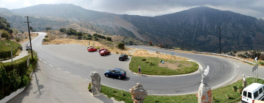 Crete, Greece - February 06, 2014; Panorama of montain road in Crete island.