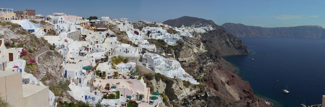 Panorama of Fira city in Santorini island, Greece.