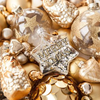 Variety of golden christmas ornaments