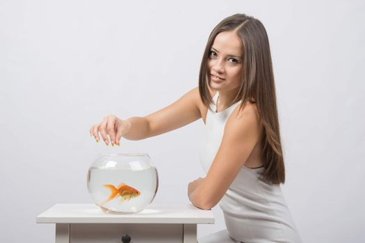 A young girl feeds a goldfish in a fishbowl