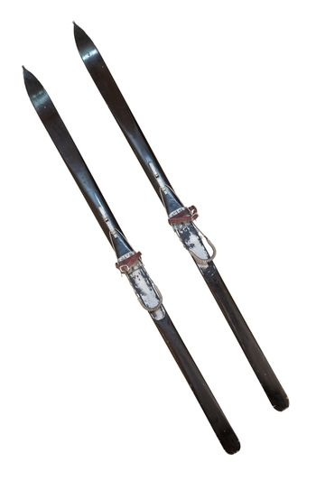 Pair of old wooden skis