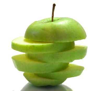 The photo shows an apple on a white background