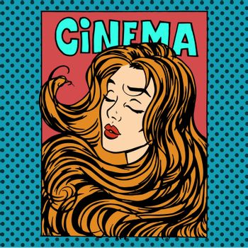 Movie poster woman actress heroine cinema pop art retro style. Beauty romance love