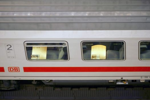 Berlin, Germany - February 22, 2015: The top view of an IC express train with seats behind the window in the main station of Berlin on February 22, 2015 in Berlin.