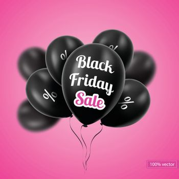 Vector. Black Friday. Black balloons on a pink background. Black balloons with discounts. Sales.