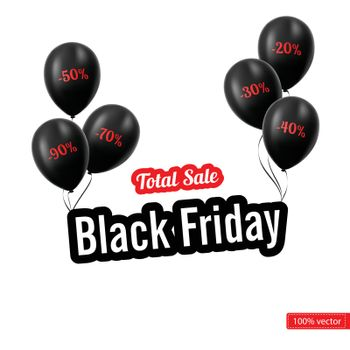Vector. Black Friday. Black balloons isolated on white background. Black balloons with discounts. Logo Black Friday on an isolated white background with black beads. Sales.