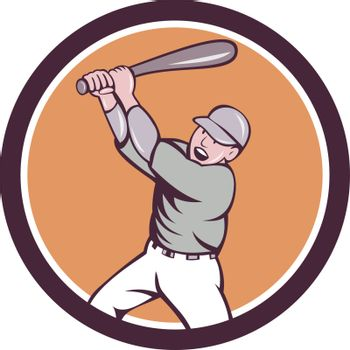 American Baseball Player Batting Homer Circle Cartoon