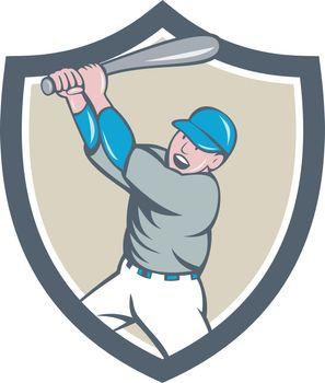 American Baseball Player Batting Homer Crest Cartoon
