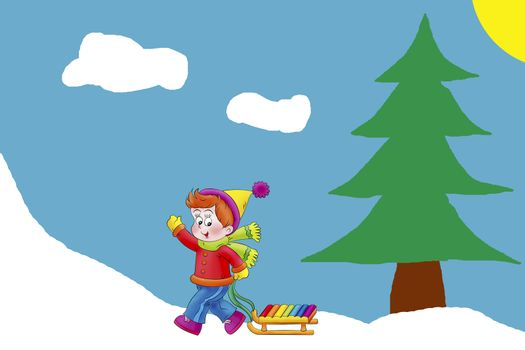 The picture shows a boy with a sled ride goes up the hill