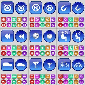 Speaker, No pets, Magnet, Rewind, Pizza, Waiting, Car, Cocktail, Bicycle. A large set of multi-colored buttons. Vector illustration