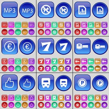 MP3, No pets allowed, Diagram, Euro, Seven, Tape measure, Like, Truck, Parking. A large set of multi-colored buttons. Vector illustration