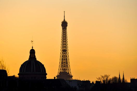 The Eiffel Tower and the French Institute at sunset
