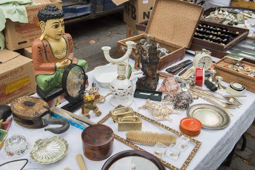 Old objects in antique market. Taken in Copenhagen, Denmark.