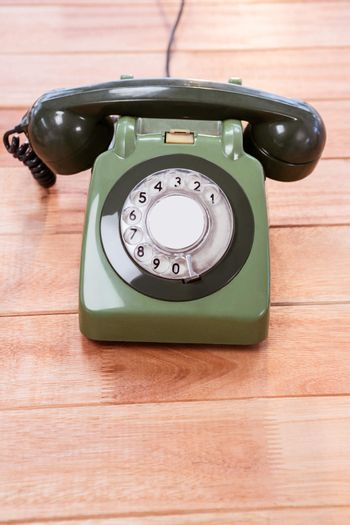 Close up view of a old phone