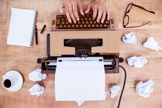 Above view of old typewriter