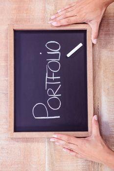 Chalkboard with portfolio text