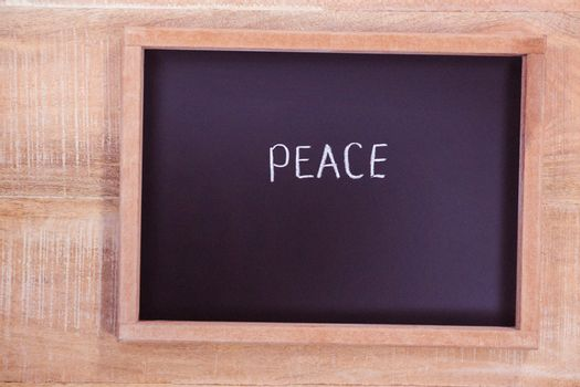 Chalkboard with peace text