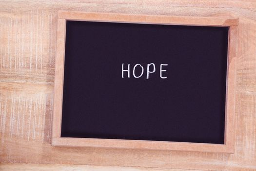 Chalkboard with hope text