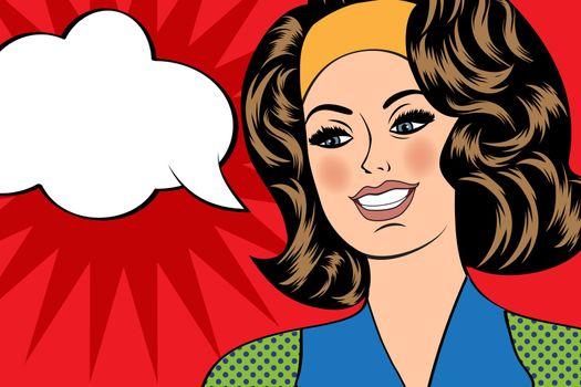 Pop Art illustration of girl with the speech bubble. Pop Art gir