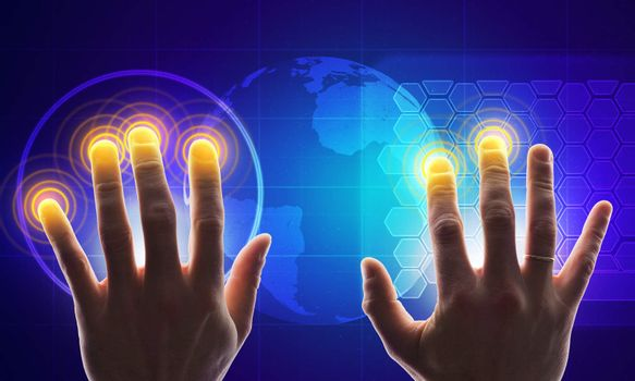 Hands with holographic screen
