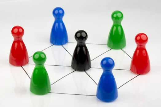 Conceptual game pawns that depict the concept networks and work together