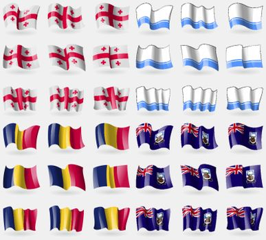 Georgia, Altai Republic, Chad, Falkland Islands. Set of 36 flags of the countries of the world. Vector