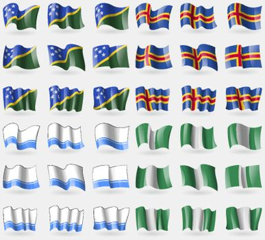 Solomon Islands, Aland, Altai Republic, Nigeria. Set of 36 flags of the countries of the world. Vector