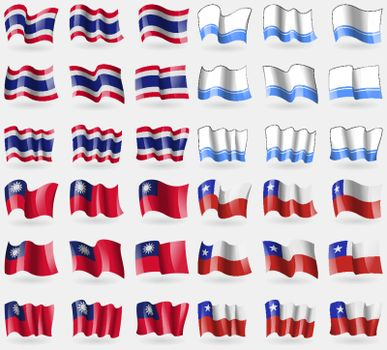 Thailand, Altai Republic, Taiwan, Chile. Set of 36 flags of the countries of the world. Vector