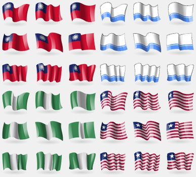Taiwan, Altai Republic, Nigeria, Liberia. Set of 36 flags of the countries of the world. Vector