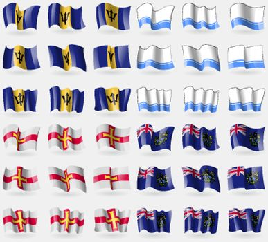 Barbados, Altai Republic, Guernsey, Pitcairn Islands. Set of 36 flags of the countries of the world. Vector