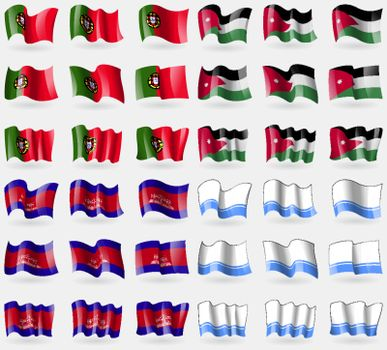 Portugal, Jordan, Cambodia, Altai Republic. Set of 36 flags of the countries of the world. Vector