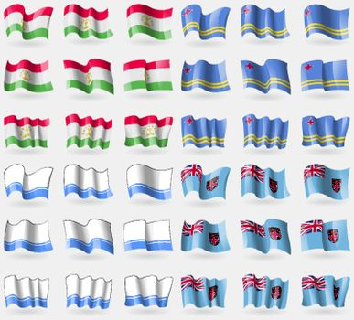 Tajikistan, Aruba, Altai Republic, Fiji. Set of 36 flags of the countries of the world. Vector