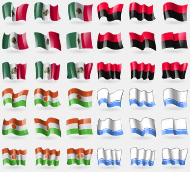 Mexico, UPA, Niger, Altai Republic. Set of 36 flags of the countries of the world. Vector