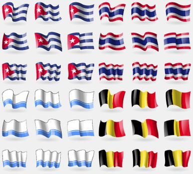 Cuba, Thailand, Altai Republic, Belgium. Set of 36 flags of the countries of the world. Vector