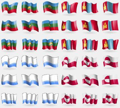 KarachayCherkessia, Mongolia, Altai Republic, Greenland. Set of 36 flags of the countries of the world. Vector