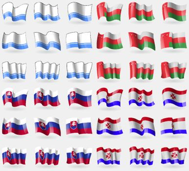 Altai Republic, Oman, Slovakia, Mordovia. Set of 36 flags of the countries of the world. Vector
