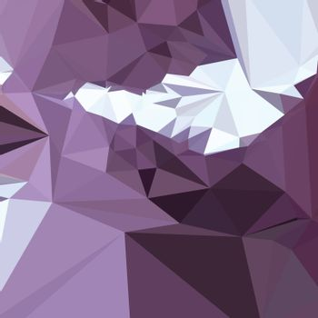 Low polygon style illustration of a dark pastel purple abstract geometric background.