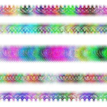 Color fractal page text divider line set