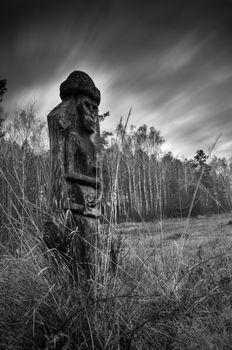 Wooden statue of the Slavic idol. Ukraine