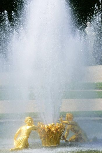 Classical Golden statue with fountain