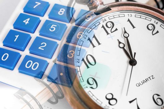 Composite of Wall Clock and Calculator