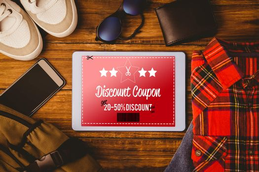 Composite image of discount coupon