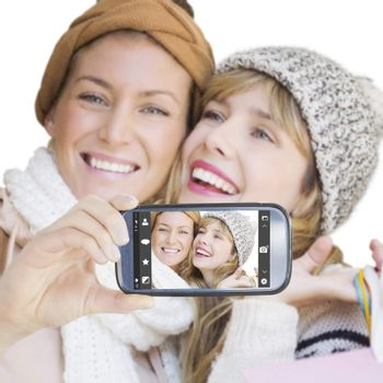 Hand holding smartphone showing against camera