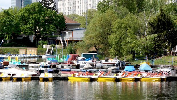 Boats in Danube River Landscape