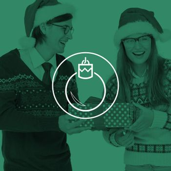 Geeky hipster couple holding present  against bauble