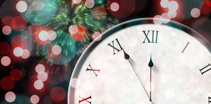 Composite image of roman numeral clock counting down