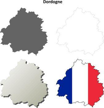 Dordogne, Aquitaine outline map set