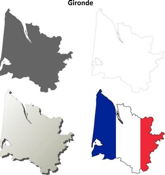 Gironde, Aquitaine outline map set