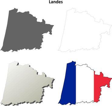 Landes, Aquitaine outline map set