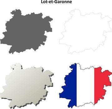 Lot-et-Garonne, Aquitaine outline map set